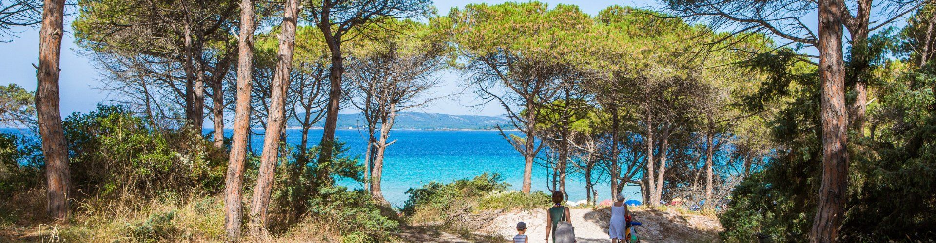 Access to the beach of Pia Maria through pine trees and sand dunes