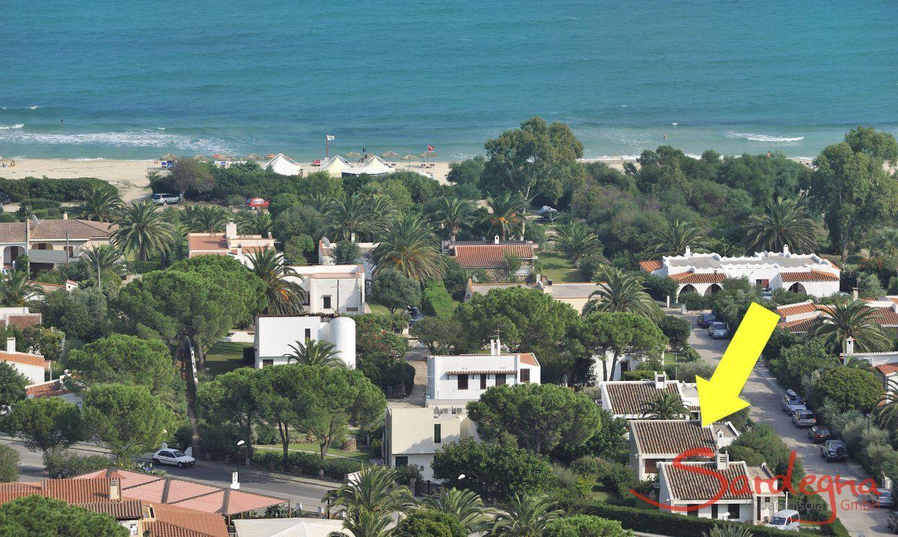 Location of the villa at Costa Rei