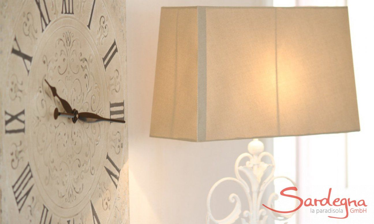 Big clock in shabby stile and lamp