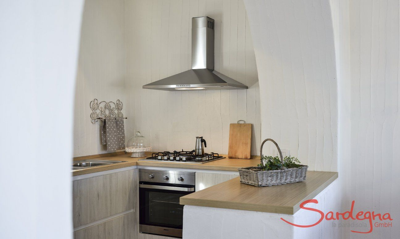 Kitchen with oven, gas stove and dishwaser Li Conchi 9, Cala Sinzias