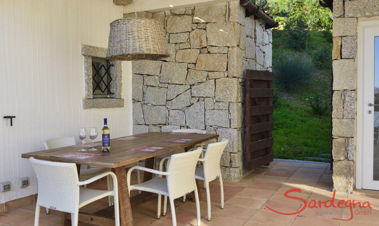 Outside Dining on the terrace Li Conchi 10, Cala Sinzias