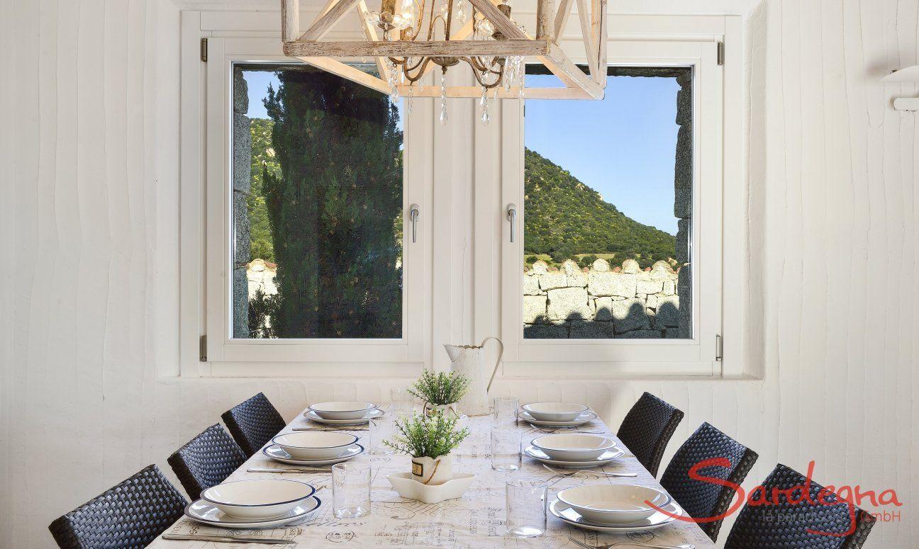 Dining Table on the window with view Li Conchi 10, Cala Sinzias