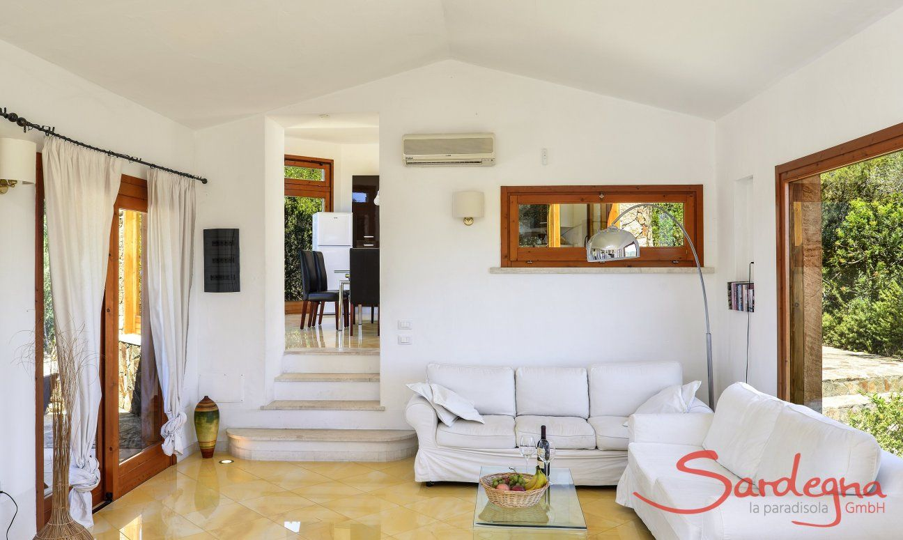 Living area with big windows