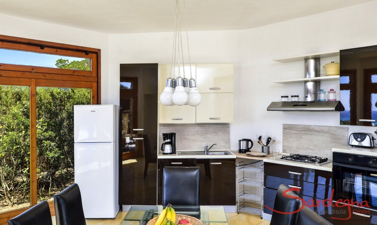 Open kitchen and dining area inside