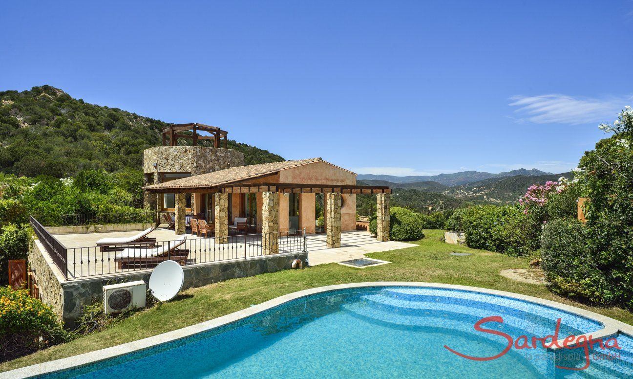 Beautiful private pool with a view towards the villa