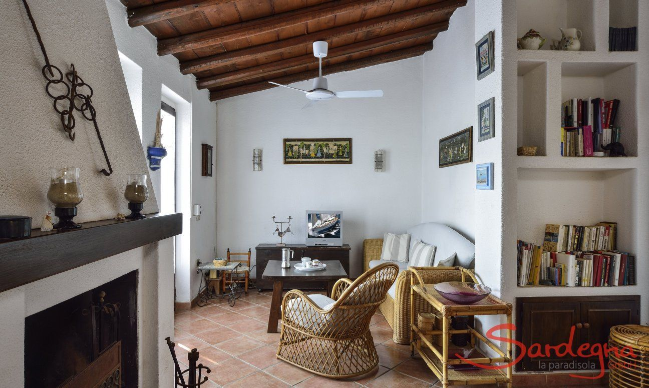 Living area with sofa corner, bookshelf and chimney
