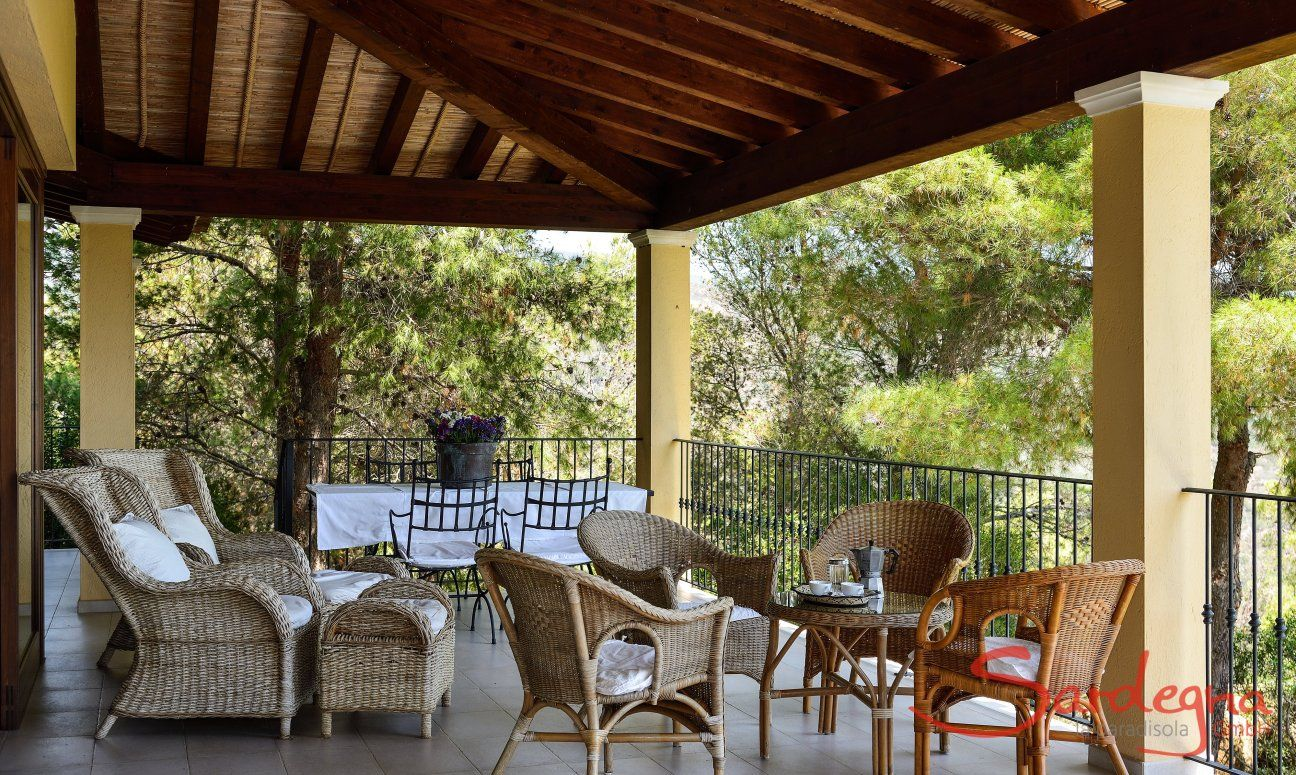 Terrace with lounge furniture and dining table