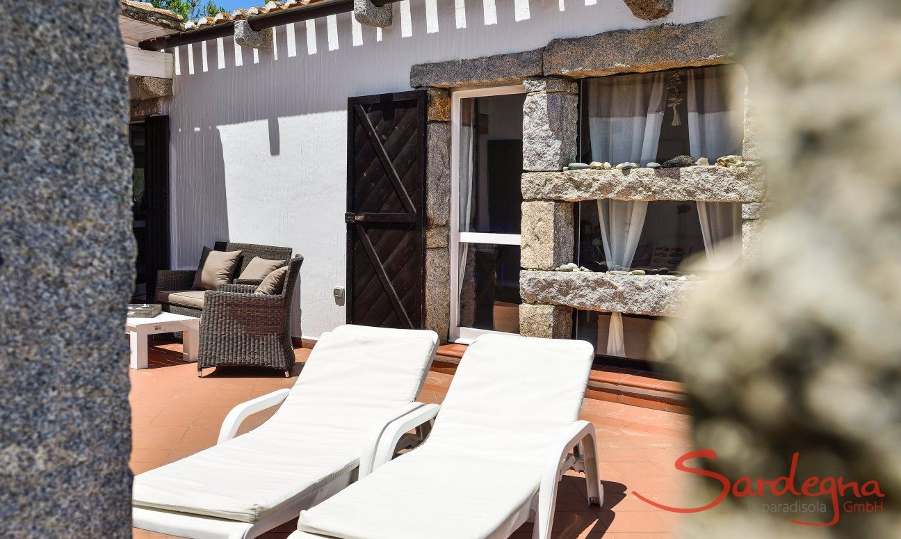 Private terrace of Casa 24 with sunbeds and sofa, Sant Elmo