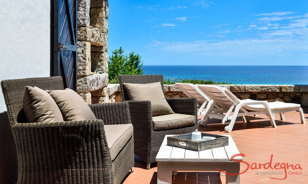 Terrace with sofa, sunbeds and sea view, Casa 24, Sant Elmo