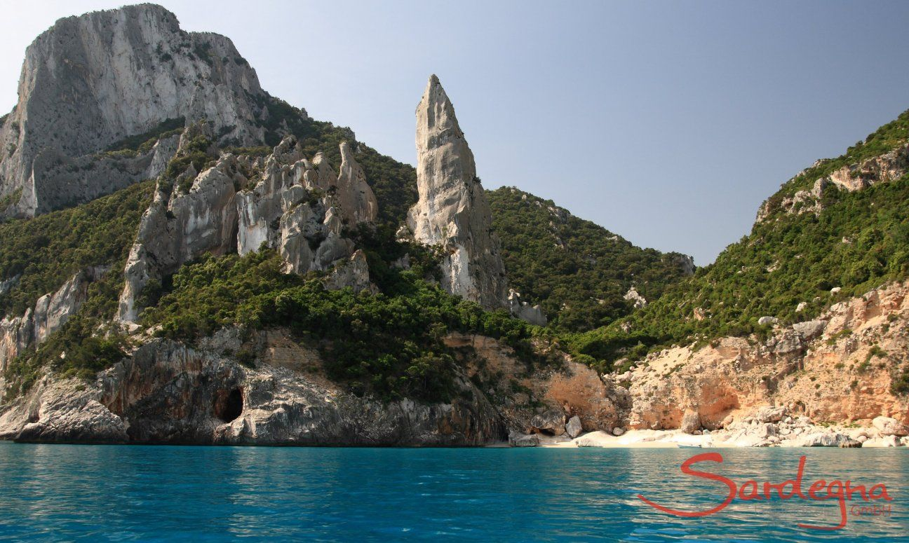View from the sea on the rock stack of Cala Goloritze