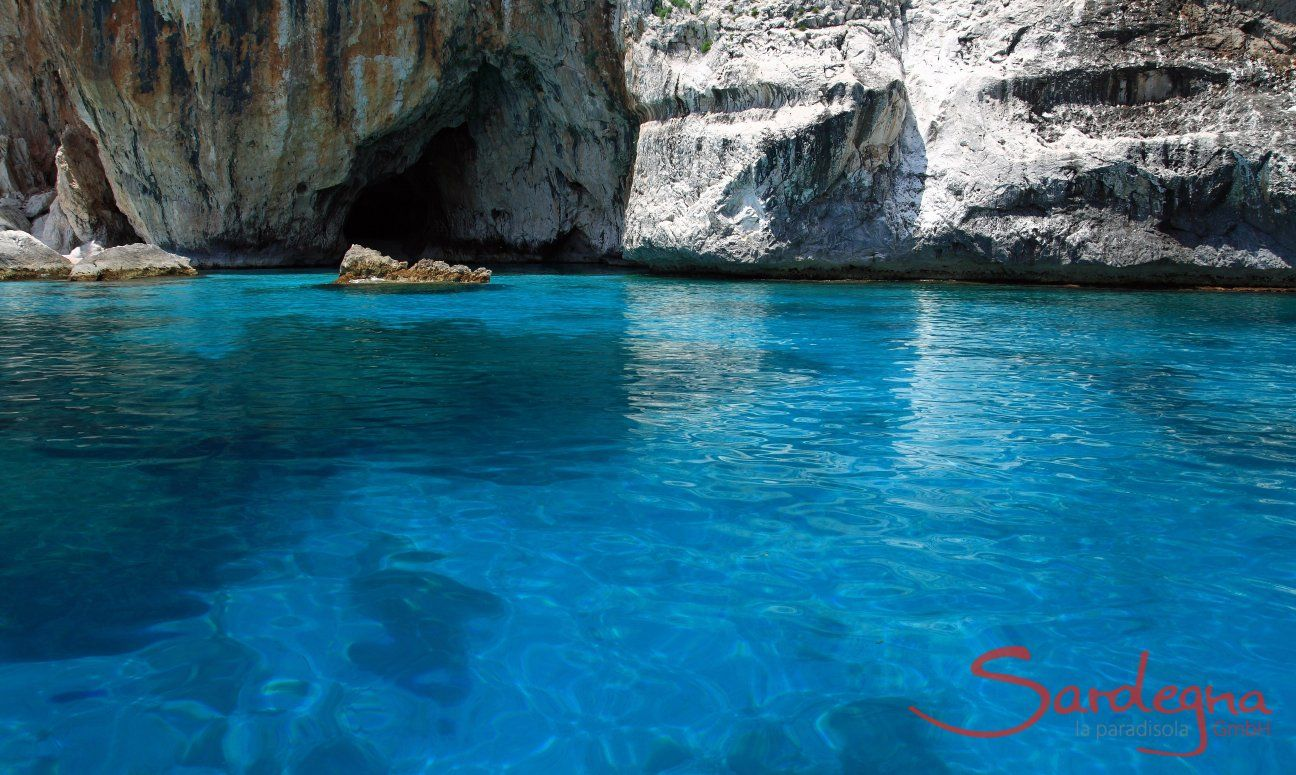 Incredible shades of blue in the water of Cala Luna