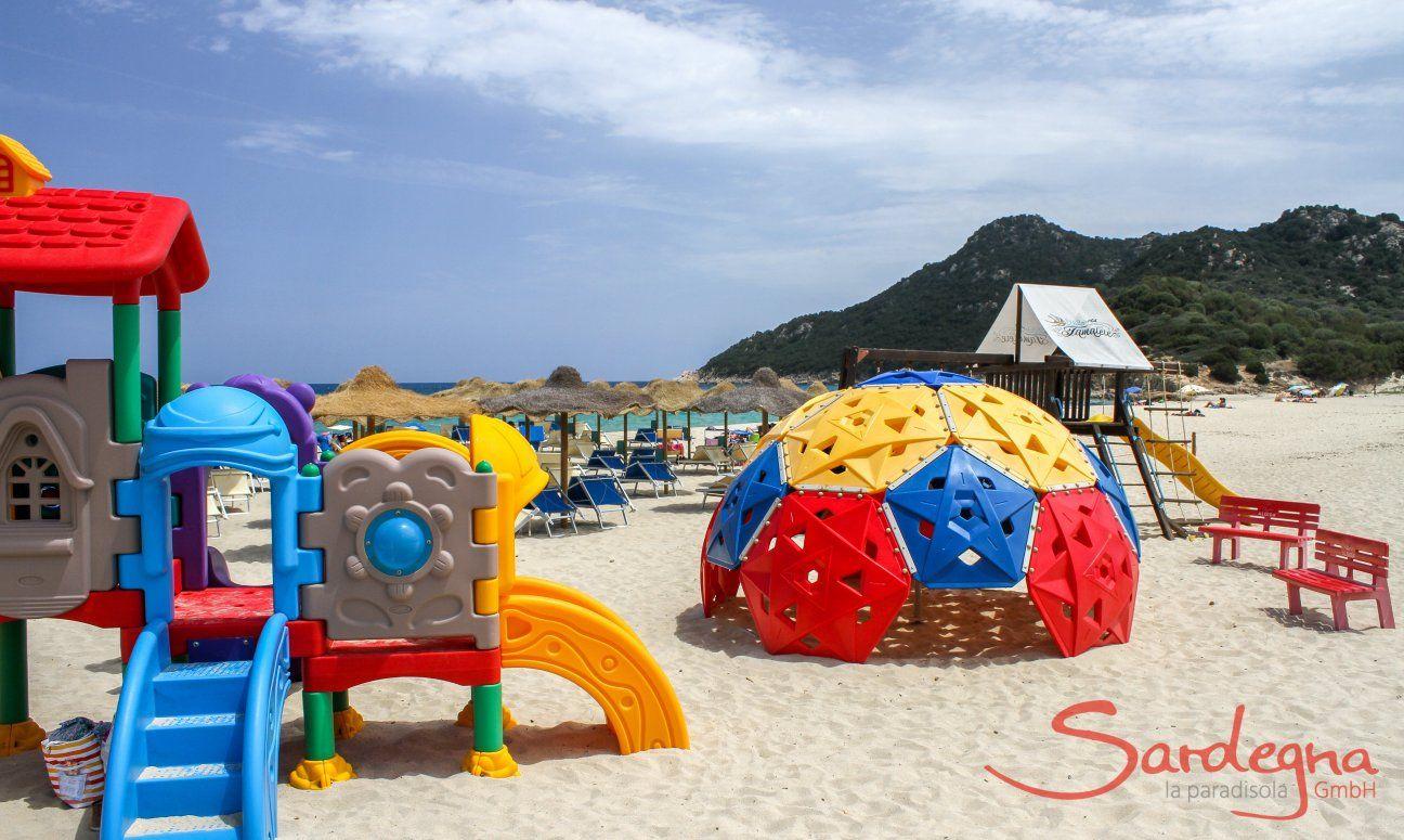 Playground for children on the beach of Cala Sinzias