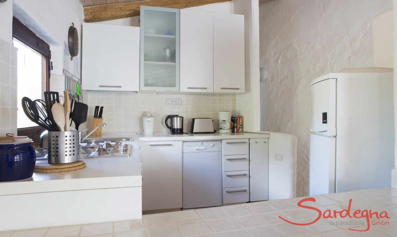 Open space kitche with dishwaser, gas stove, fridge with freezer and electric devices