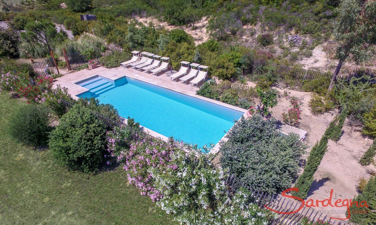 Aerial view of the pool area with Mediterranean plants