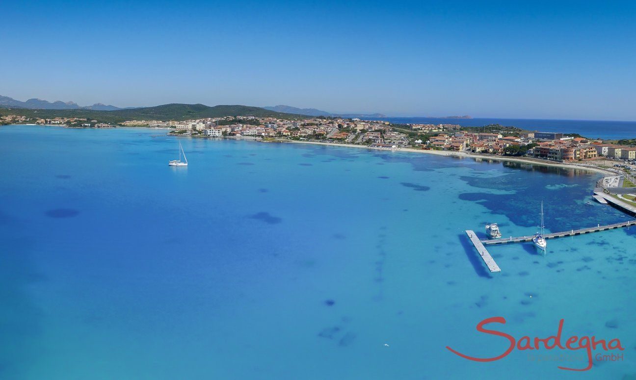 Airview of the crystal clear sea in front of Golfo Aranci