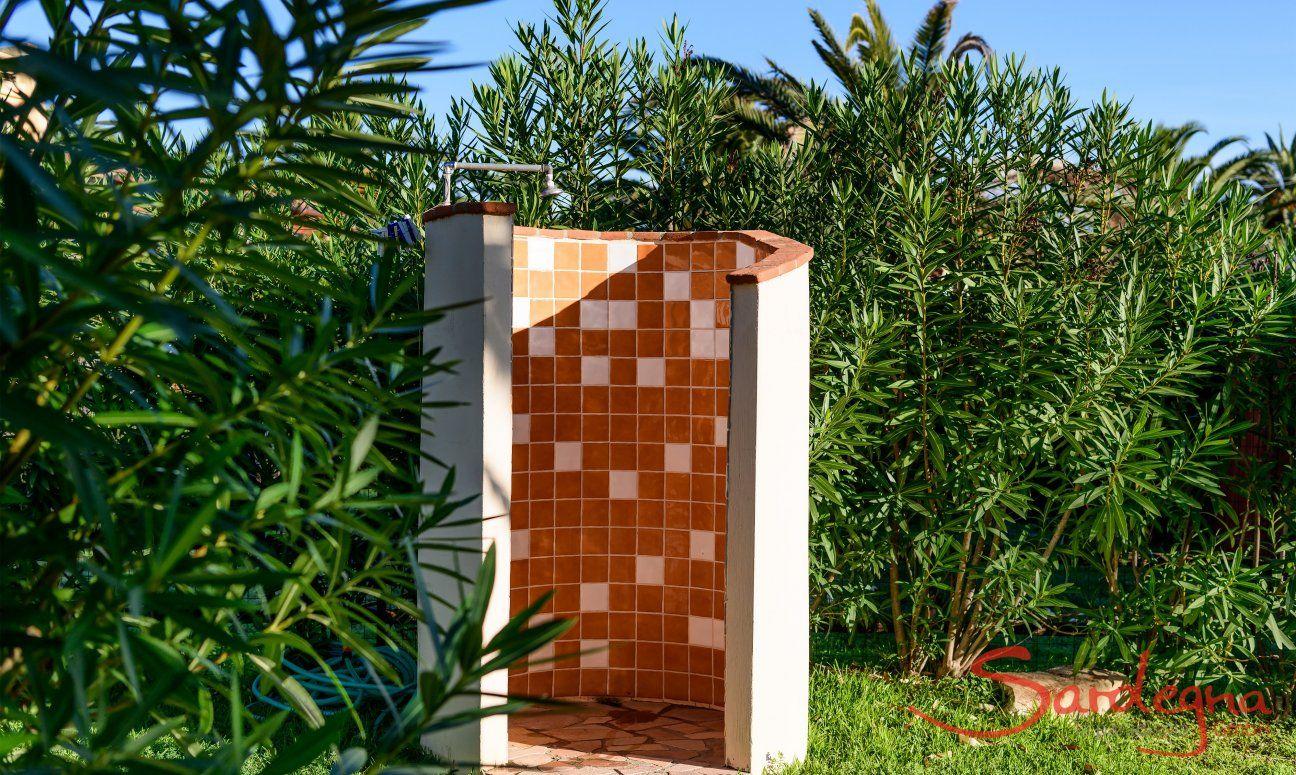 Outside shower in the garden