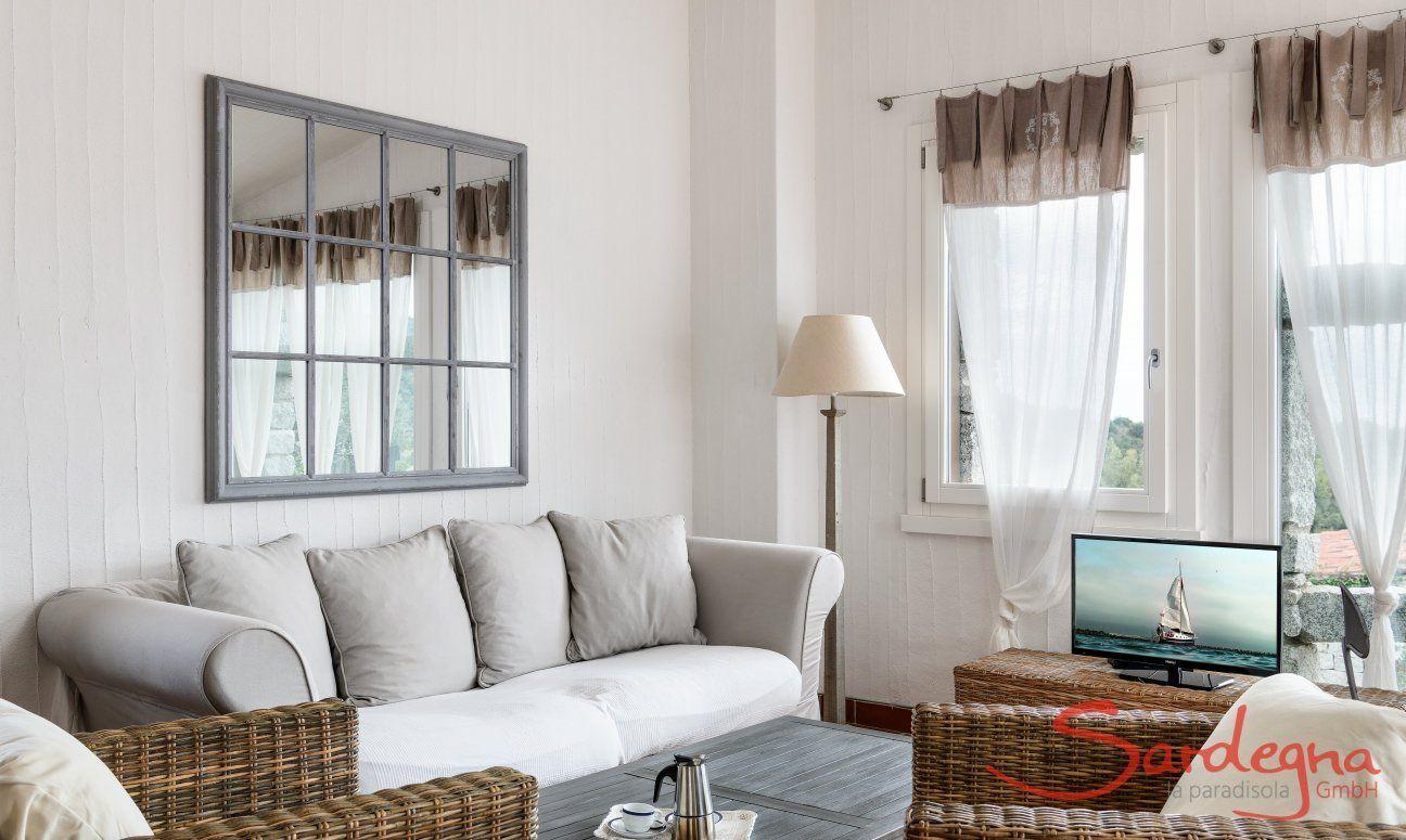 Sofa corner with sofa, armchairs and TV