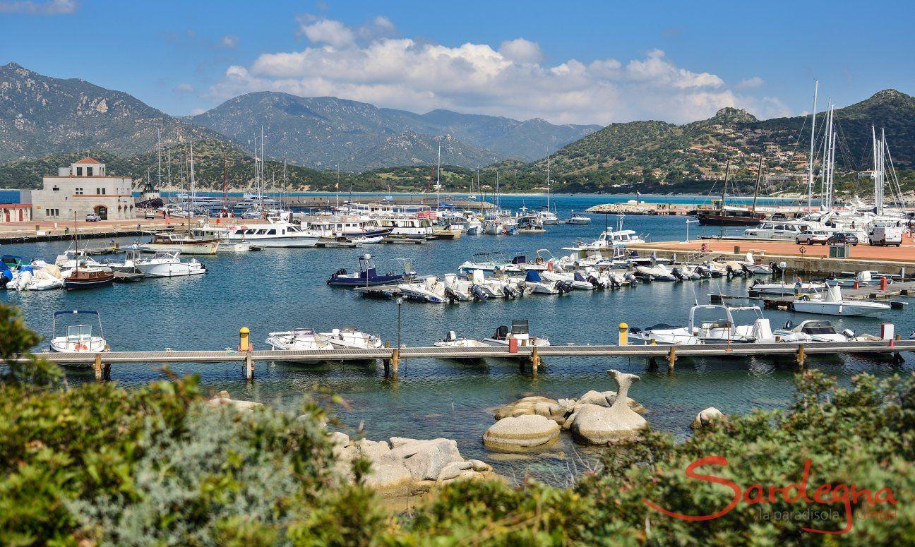 Harbour of Villasimius right beside the beach Spiaggia del Riso