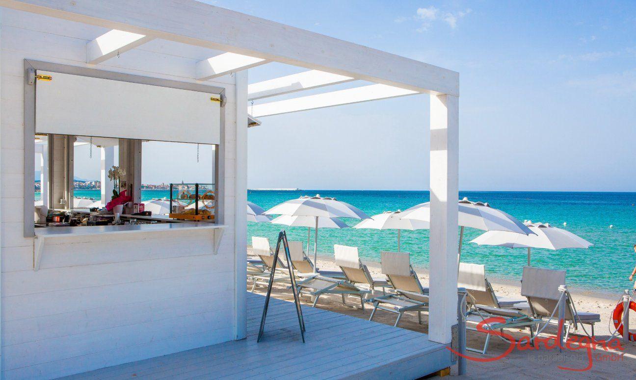 Elegant beach bar in white wood on the beach Maria Pia close to Alghero