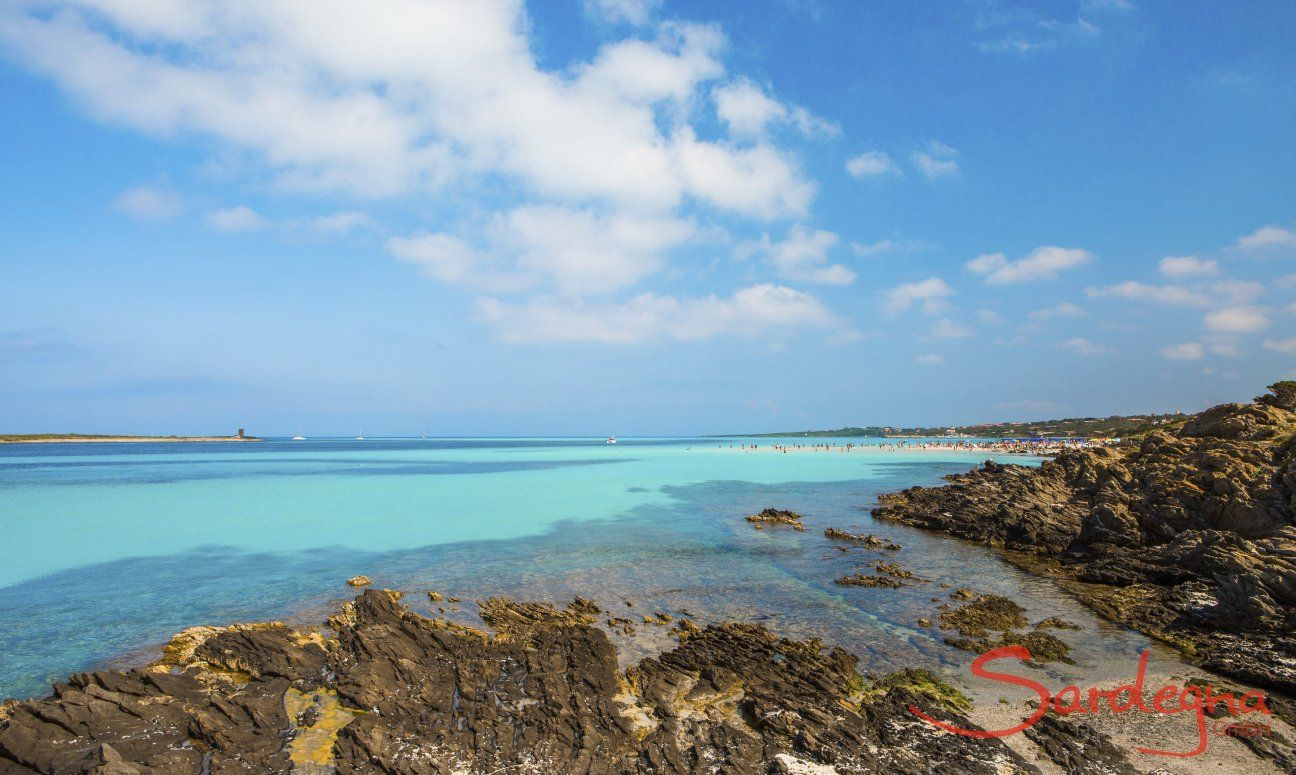Beautiful colours of the sea, cliffs and sky on the northcoast, La Pelosa Stintino
