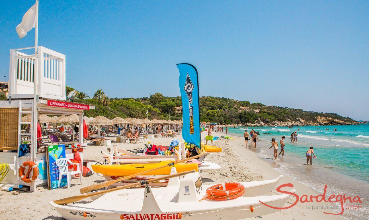 Simius Beach with lido and lifeguards, 26 km. away