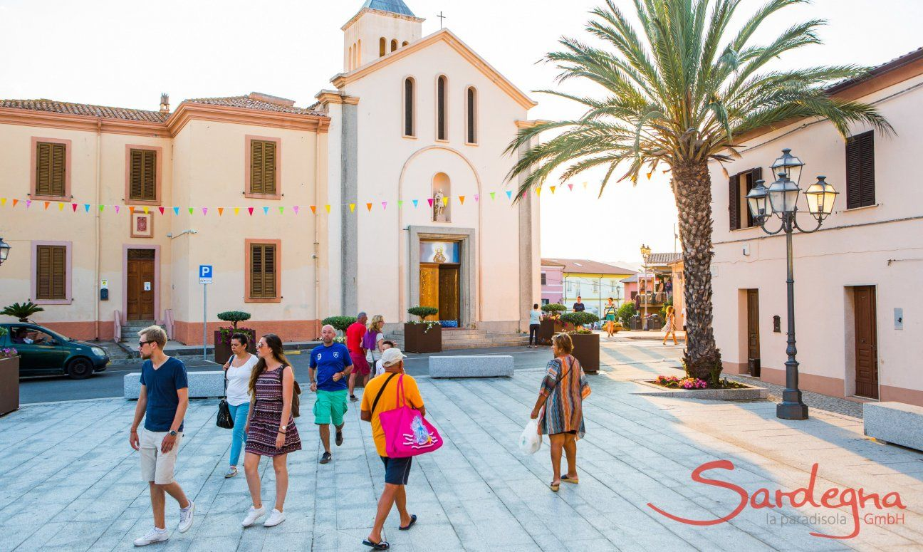Tourists visiting the monuments of San Teodoro close to Olbia