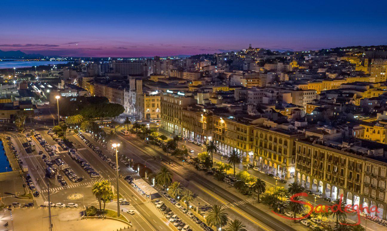 Cagliari by night, South Sardinia