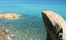 Clear blue water and rock formations