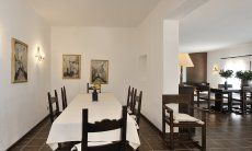 Dining room with a long table