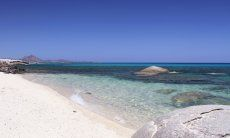 White, sandy beach of Sant Elmo, Southsardinia