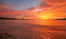 Sunrise at Costa Rei stings everything orange