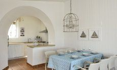 Dining inside with kitchen