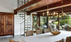 Big dining area and a winding stair