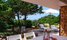 Dining area outside with sea view