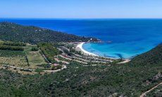 Airview of the beautiful bay of Cala Pira