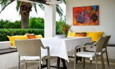 Modern dining area outside