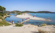 Bridge to the beach of Porto Taverna
