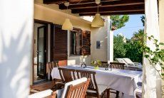 Outdoor dining table on the terrace