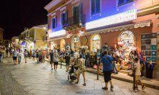 Shops open at night in  summer in Santa Teresa di Gallura