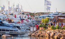 Huge private yachts and seaside promenade of Porto Cervo