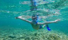 A snorkelling boy in crystal clear water