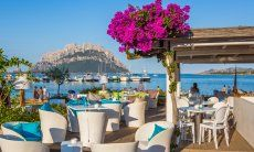 Restaurant in the harbour of Porto San Paolo  in front of the isle Tavolara