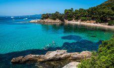 Incredible colours of the sea in the bay Cala Moresca, Golfo Aranci