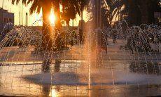 Cagliari, capital of Sardinia Fountain at sunset