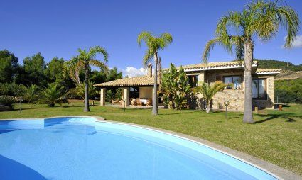 Pool with a view towards the villa